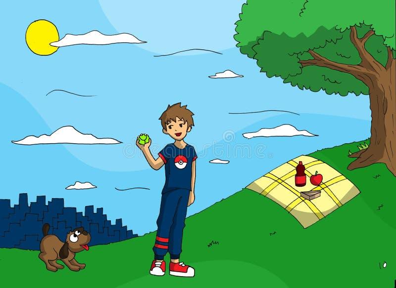 Jugar la bola con mi perro stock de ilustración