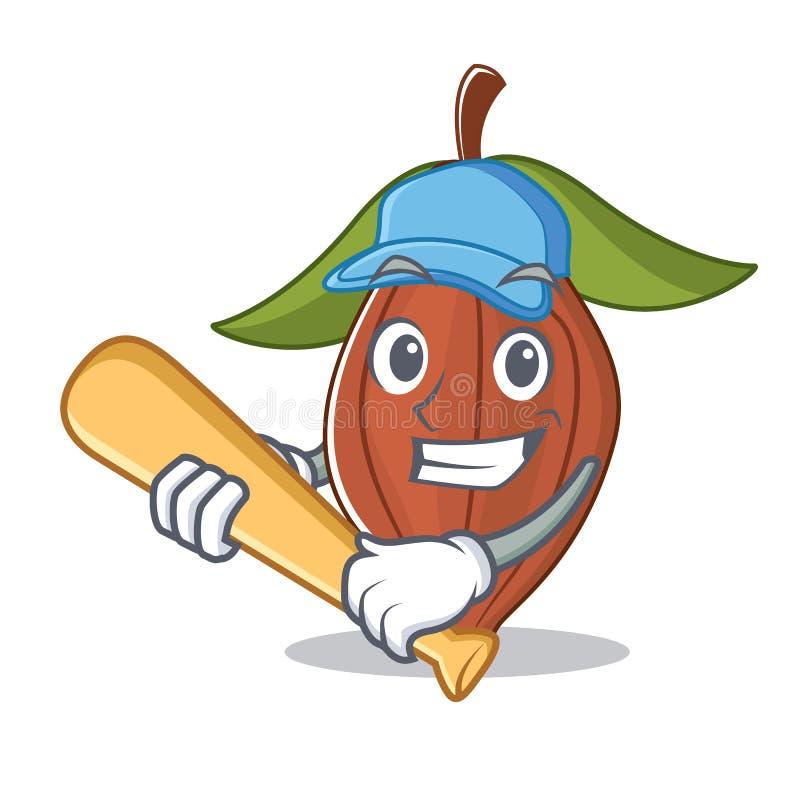 Jugar la historieta del carácter de la haba del cacao del béisbol stock de ilustración