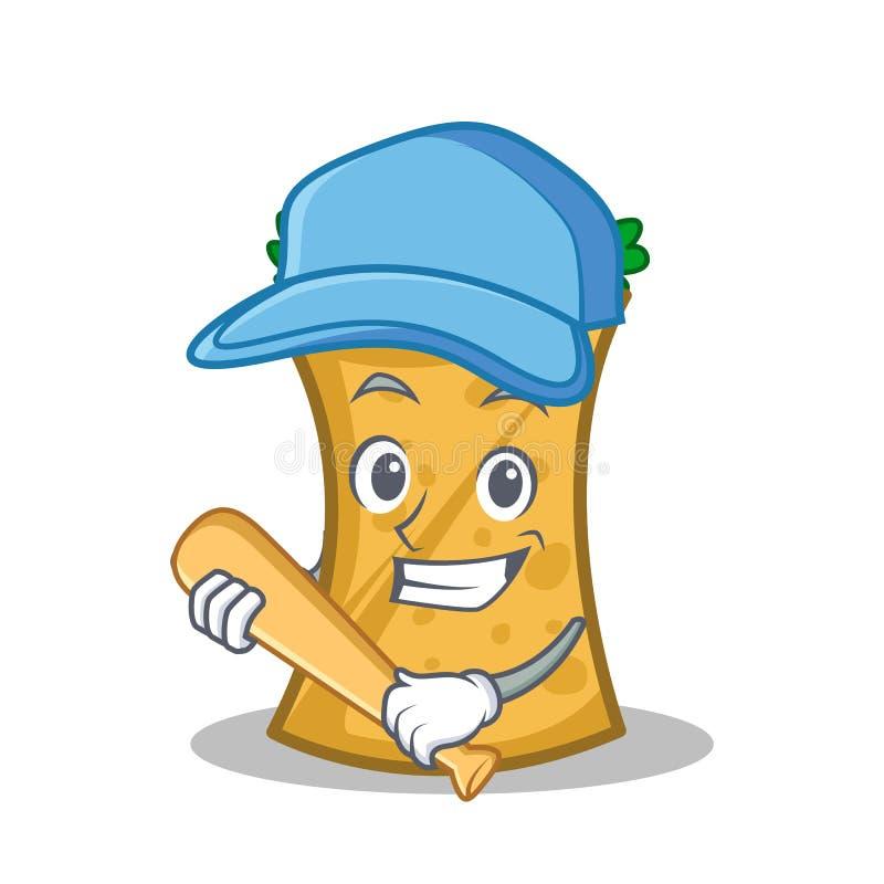 Jugar la historieta del carácter del abrigo del kebab del béisbol ilustración del vector