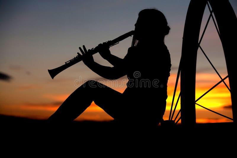 Jugar música en la puesta del sol. fotografía de archivo libre de regalías