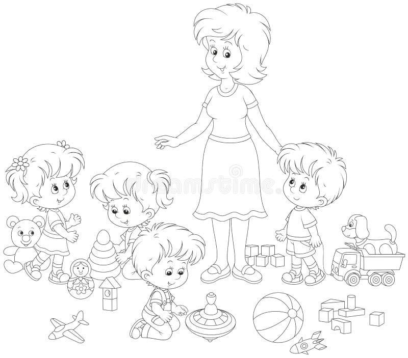 Jugar niños y al maestro de jardín de infancia stock de ilustración