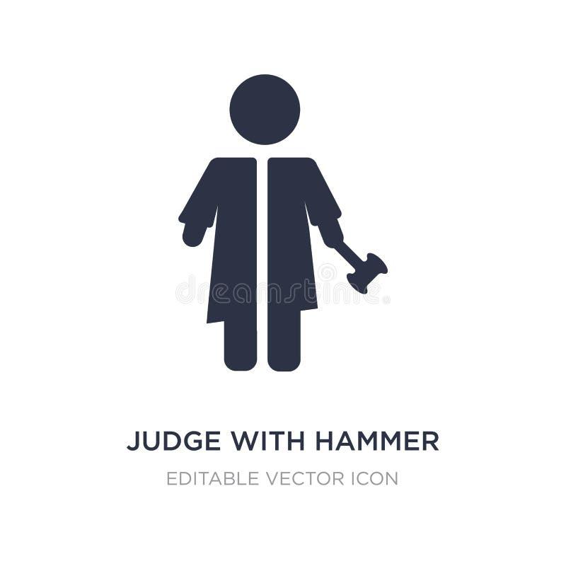 juge avec l'icône de marteau sur le fond blanc Illustration simple d'élément de concept de personnes illustration de vecteur