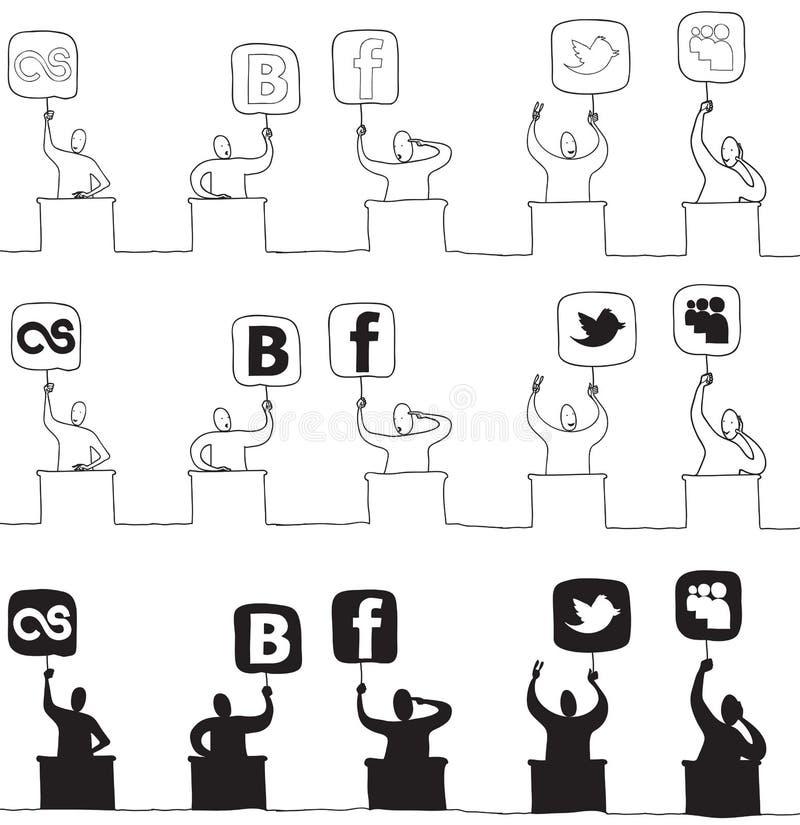 Juge avec le graphisme social de réseau illustration libre de droits