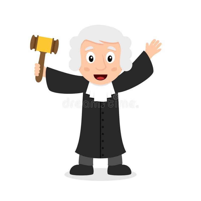 Juge Cartoon Character Holding Gavel illustration libre de droits