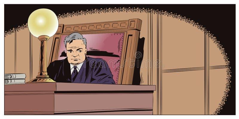 Juge In Courtroom Illustration courante illustration de vecteur