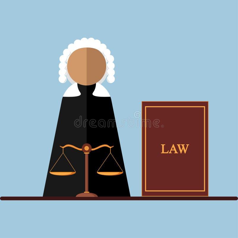 Juge dans la salle de cour, icône de mandataire d'isolement sur le fond Loi juridique, justice Conception de bande dessinée de ve illustration stock