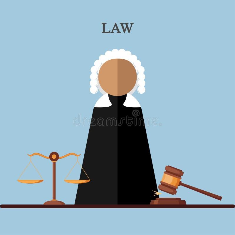 Juge dans la salle de cour, icône de mandataire d'isolement sur le fond Loi juridique, justice Conception de bande dessinée de ve illustration libre de droits
