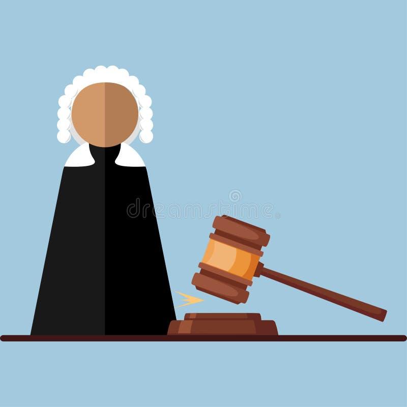 Juge dans la salle de cour, icône de mandataire d'isolement sur le fond Loi juridique, justice Conception de bande dessinée de ve illustration de vecteur