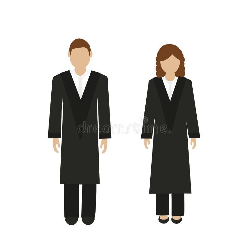 Juge de caractère d'homme et de femme illustration stock