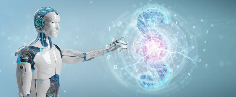 Juge de cyborg employant 3D rendant le symbole numérique de loi de paragraphe illustration de vecteur