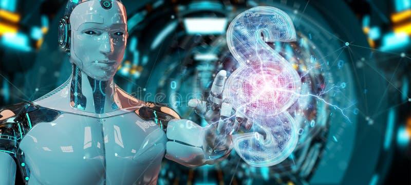 Juge de cyborg employant 3D rendant le symbole numérique de loi de paragraphe illustration stock