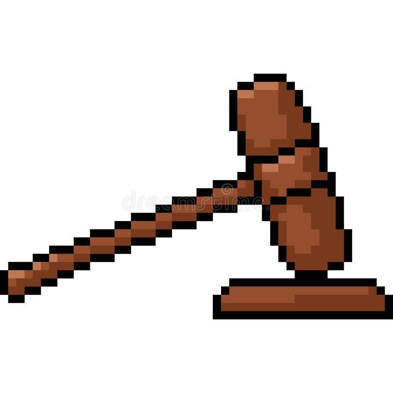 Juge de marteau d'art de pixel de vecteur illustration de vecteur