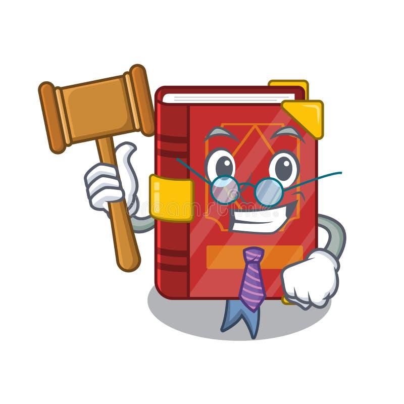 Juge du livre d'épée magique en mascotte de forme illustration de vecteur