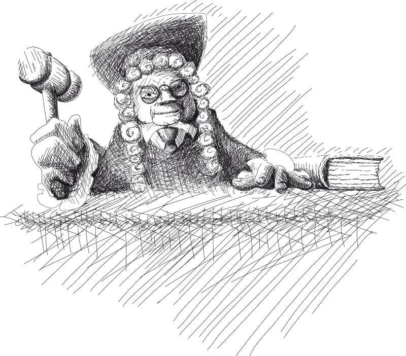 Juge fâché Doodle illustration de vecteur