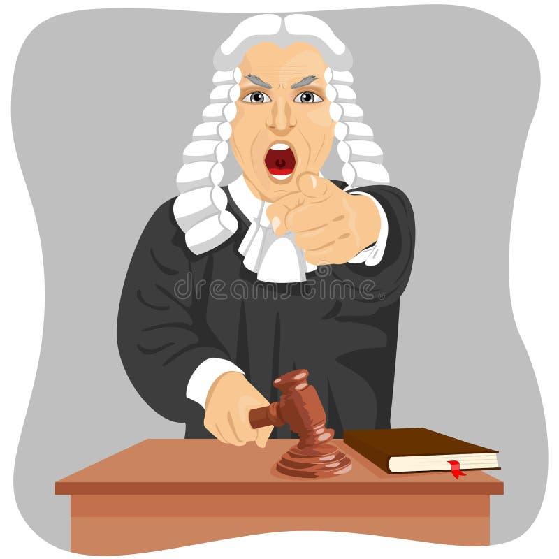 Juge fâché hurlant et dirigeant son doigt à quelqu'un frappant le marteau illustration de vecteur