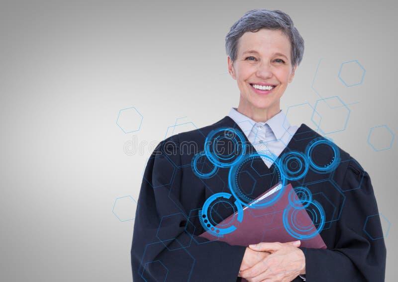 Juge féminin avec le livre et interface bleue sur le fond gris photographie stock