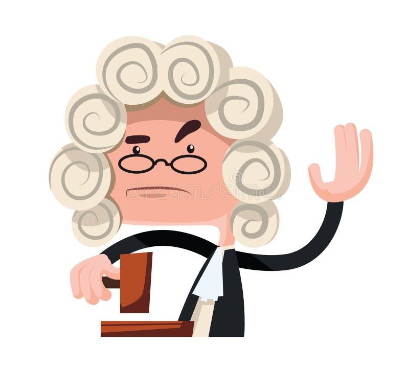Juge faisant un personnage de dessin animé d'illustration de verdict illustration stock