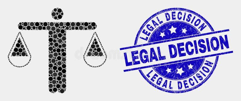 Juge Icon de Pixelated de vecteur et phoque grunge de timbre de décision juridique illustration de vecteur