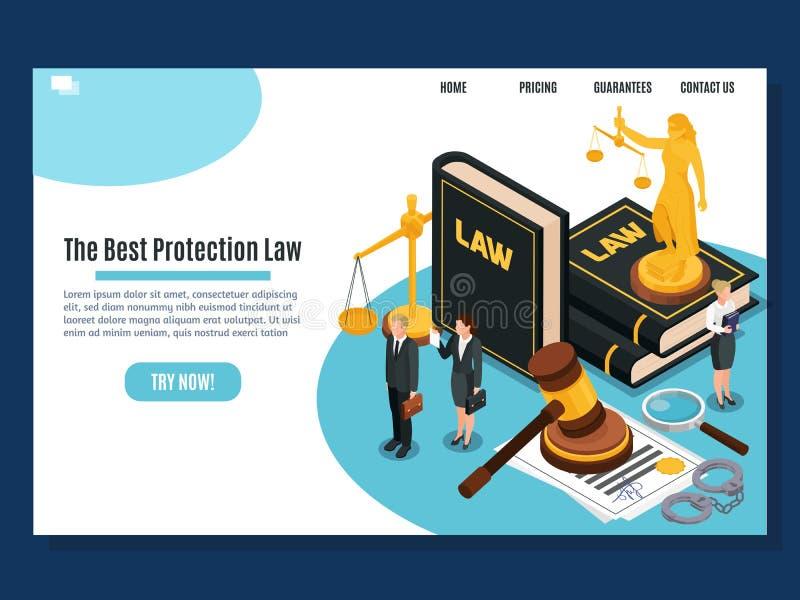 Juge Isometric Composition de loi illustration stock