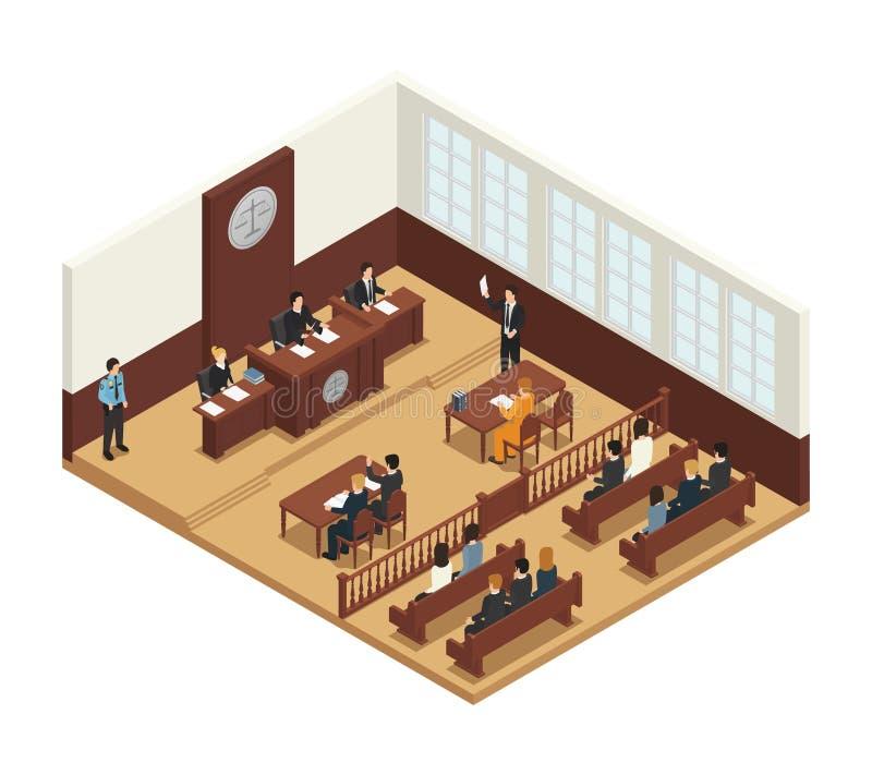 Juge Isometric Composition Icon de loi illustration stock