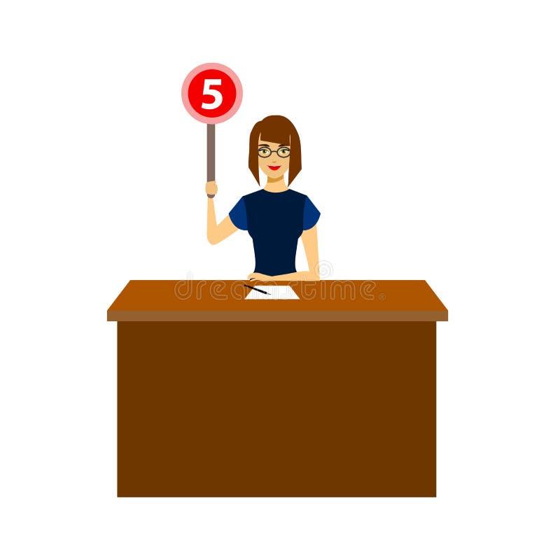 Juge Jury Character Showing de femme de bande dessinée ou main de vote  Vecteur illustration de vecteur