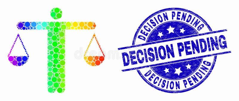 Juge pointillé coloré par arc-en-ciel Icon de vecteur et décision grunge en attendant le filigrane illustration stock