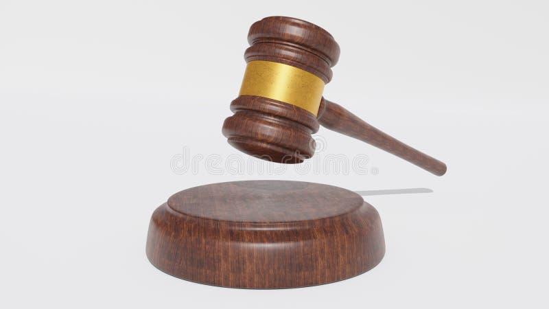 Juge Wood Hammer sur le fond blanc marteau 3d rendez photos libres de droits