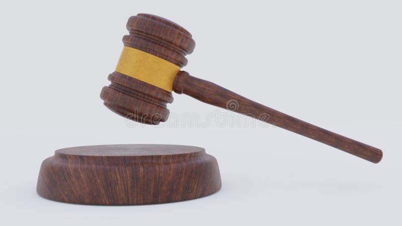 Juge Wood Hammer sur le fond blanc Vue de côté marteau 3d rendez image libre de droits