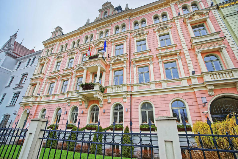 Jugend或现代样式设计里加大厦在拉脱维亚 免版税库存照片
