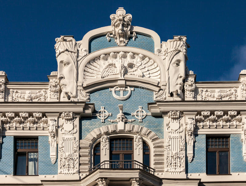 Jugend. Fragment of Art Nouveau architecture style of Riga city royalty free stock photos