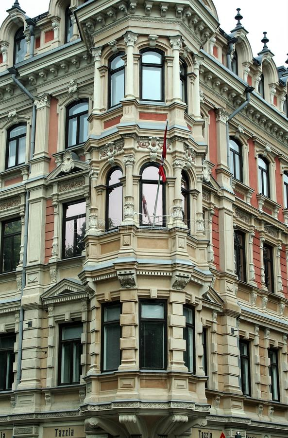 Jugend stil in building facade of Gronqvist House at Helsinki royalty free stock photography