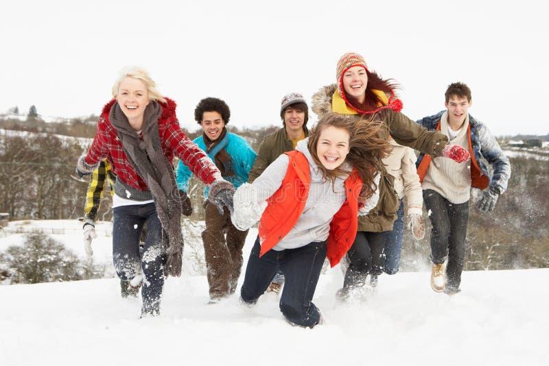 Jugendfreunde, die Spaß in der Snowy-Landschaft haben stockfoto