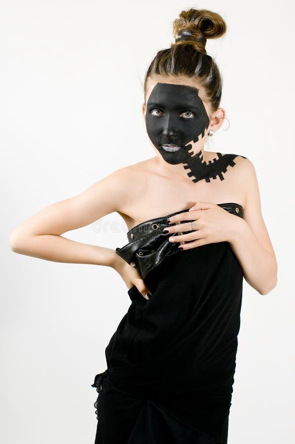 Jugendgemaltes schwarzes Gesicht der art und Weise Mädchen lizenzfreie stockfotos