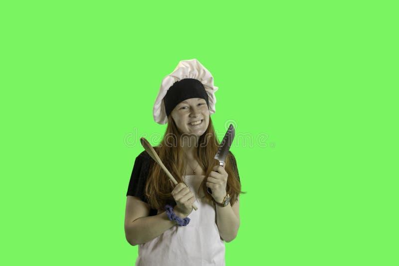 Jugendlich Chefgrünschirm lizenzfreies stockbild