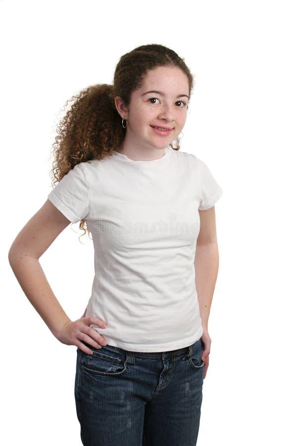 Jugendlich formendes weißes Hemd stockfoto