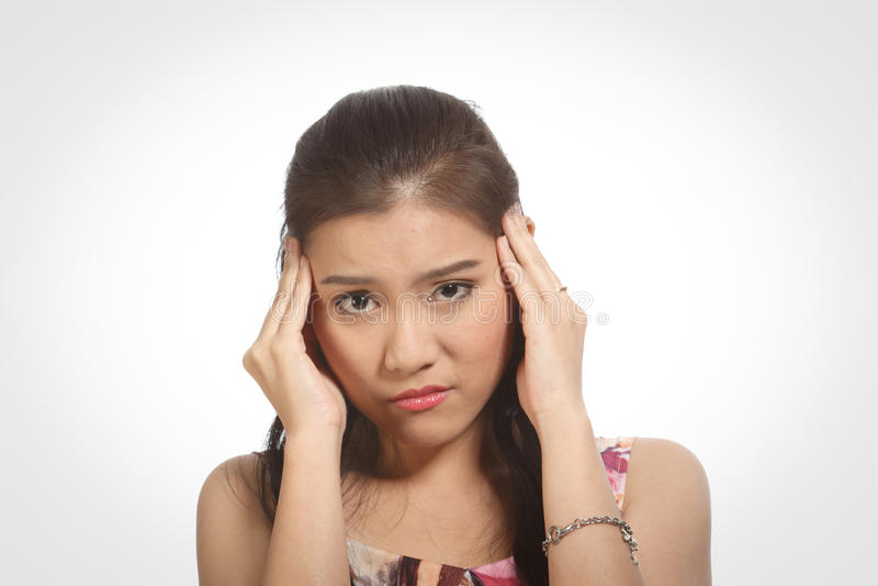 Mädchenkopfschmerzen. lizenzfreies stockbild