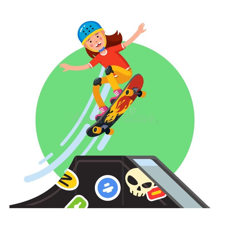 Jugendlich Handelnbremsungssprung von der Rampe auf Skateboard stock abbildung