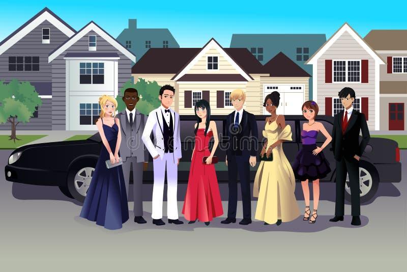 Jugendlich im Abschlussballkleid, das vor einer langen Limousine steht stock abbildung