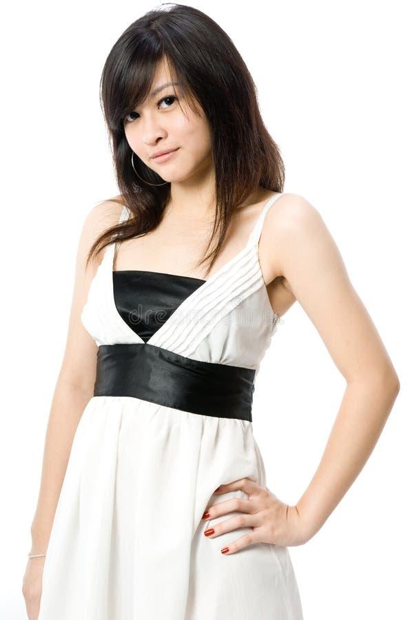 Jugendlich Im Weißen Kleid Lizenzfreie Stockbilder