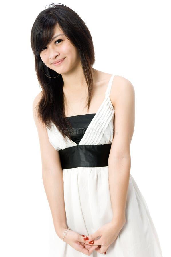 Jugendlich im weißen Kleid stockbilder