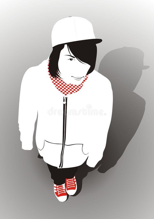 jugendlich Junge in den roten Gummiüberschuhen stock abbildung