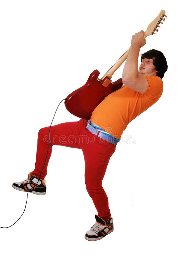 Jugendlich Junge mit Gitarre. lizenzfreie stockbilder