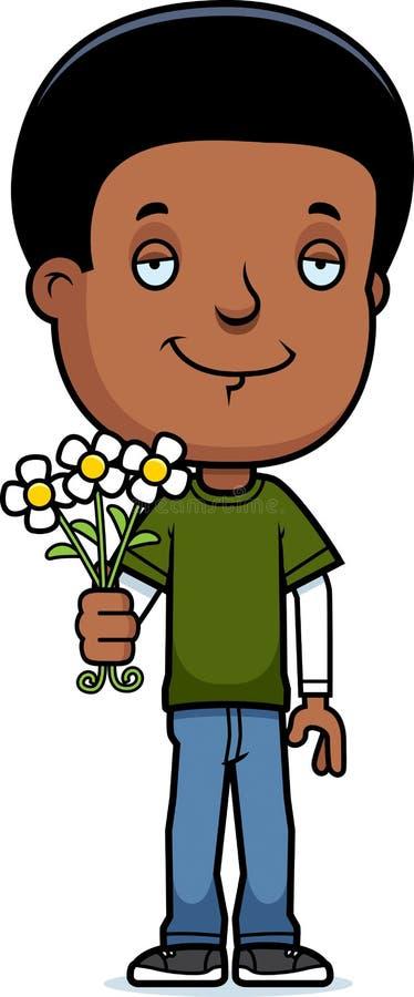 Jugendlich Jungen-Blumen lizenzfreie abbildung