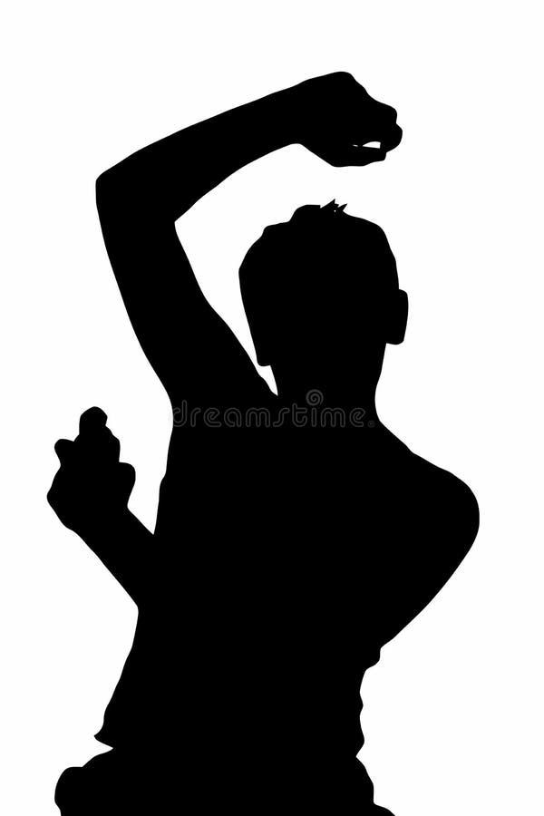Jugendlich Jungen-Schattenbild, das Underarm desodorierendes Mittel sprüht lizenzfreie abbildung
