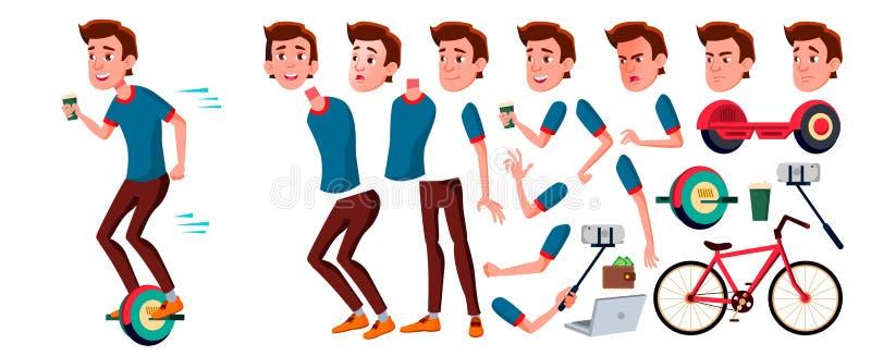 Jugendlich Jungen-Vektor Animations-Schaffungs-Satz Gesichts-Gefühle, Gesten Gesicht Kinder belebt Für die Werbung Broschüre vektor abbildung