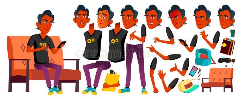 Jugendlich Jungen-Vektor Animations-Schaffungs-Satz Gesichts-Gefühle, Gesten Inder, Hindu Asiatisch Freunde, Leben belebt für lizenzfreie abbildung