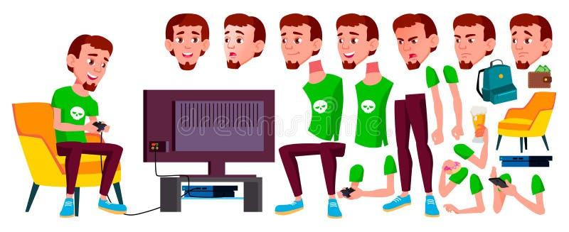 Jugendlich Jungen-Vektor Animations-Schaffungs-Satz Gesichts-Gefühle, Gesten Positive Person belebt Für Netz Broschüre, Plakat stock abbildung