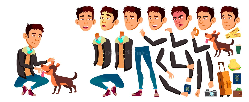 Jugendlich Jungen-Vektor Animations-Schaffungs-Satz Gesichts-Gefühle, Gesten Schönheit, Lebensstil belebt Für Netz Broschüre, Pla vektor abbildung