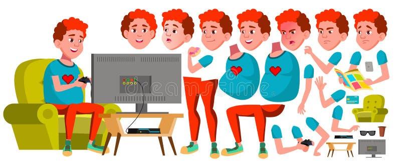 Jugendlich Jungen-Vektor Animations-Schaffungs-Satz Gesichts-Gefühle, Gesten Spaß, nett Roter Kopf Fetter Gamer belebt Für Karte stock abbildung