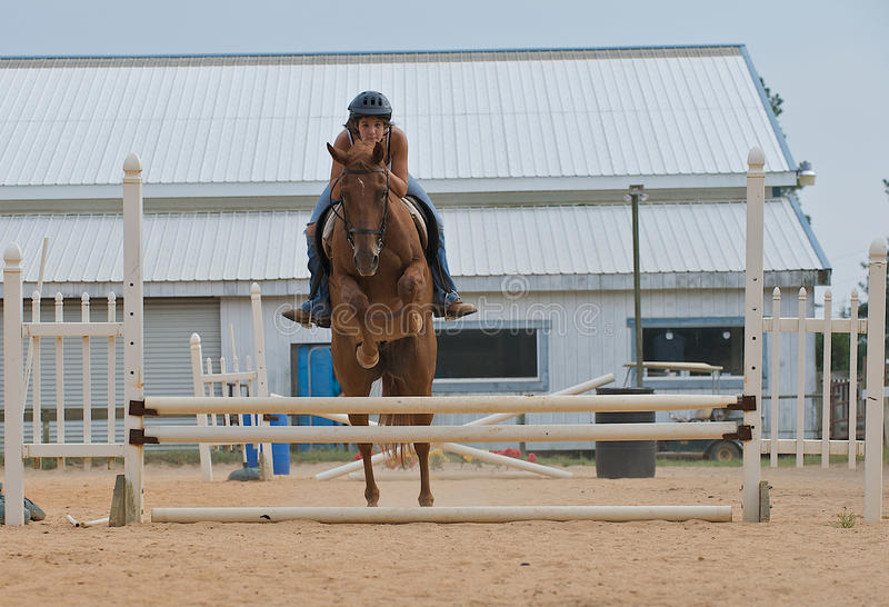 Jugendlich Mädchen auf springenden Schienen eines Pferds stockfoto